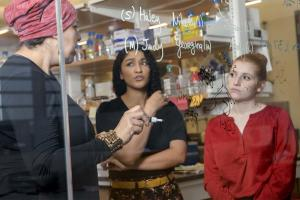 From left: Dr. May Khanna, Jaesa Strong and Christina Moehring perform proof-of-concept experiments in the Khanna Lab in the Center for Innovation in Brain Science.
