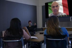 Dr. May Khanna says the shift to remote work during the pandemic enabled collaboration between students and world-renowned experts, such as Dr. Michele Mazzanti (upper right).